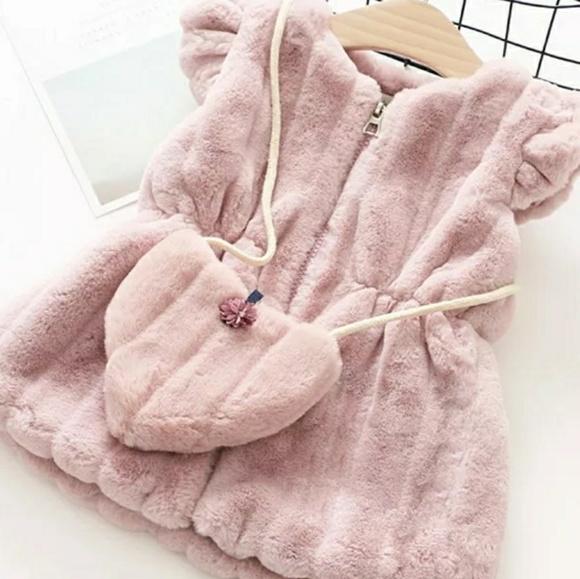 0e52f827d06f2 Stylish Jackets & Coats | Pink Fur Zip Up Vest Jacket With Purse Bag ...